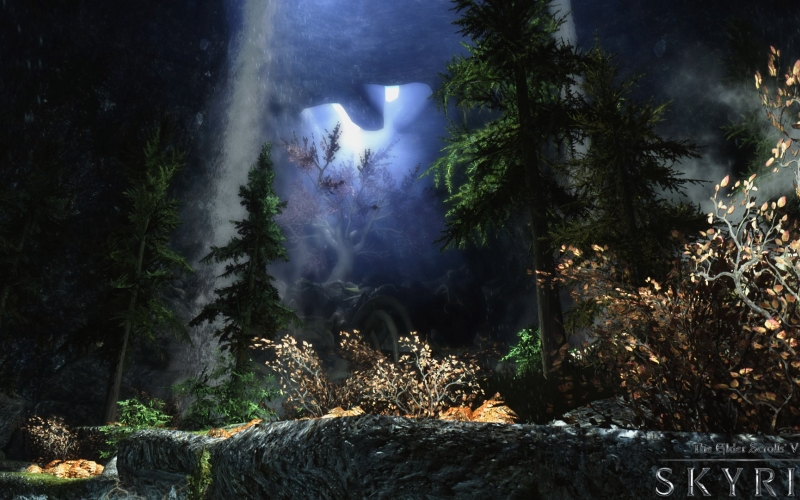 gildergreen tree, skyrim, video game, computer game, cave, art