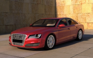car, automobile, vehicle, auto, machine, stone wall, monochrome, sports car, sedan, 3d, audi, metallic, computer graphics, 3d model, rendering, 3d visualization, audi s8, audi a8, car design, red