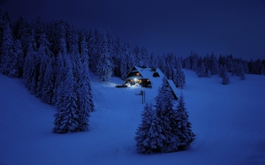 cottage, home, house, night, winter, mountains, forest, snow, wood, navy blue, dark blue