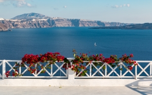 railing, santorini, greece, sea, ocean, mountains, flowers, terrace, landscape