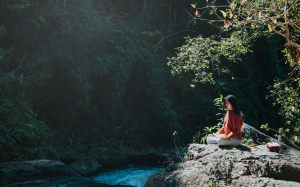 girl, nature, water, green, trees, vegetation, leaf, river, wilderness, forest, rainforest, jungle, watercourse, flora, landscape, stream, rock, sunlight, bank, bayou, creek, branches, meditation