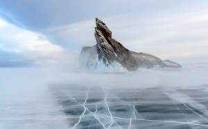 snowstorm, lake, baikal, ogoy, island, nature, landscape, ice, frozen, winter, rock