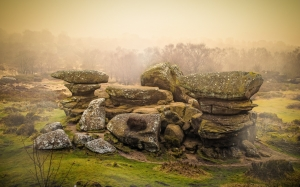 rocks, fog, weather, seasons, autumn, winter, spring, england, landscape, nature, north yorkshire, north