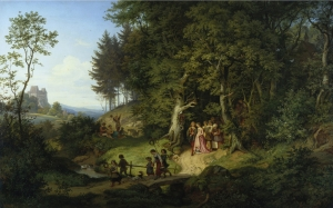 adrian ludwig richter, spring, painting, landscape, oil on canvas