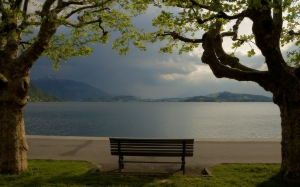 lake zug, mount rigi, switzerland, landscape, nature, clouds, viewm, lake, bench, mountains
