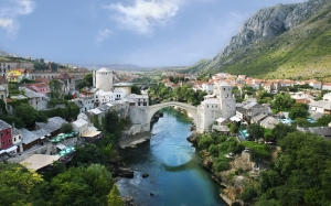 mostar, old town, river, stari most, old bridge, neretva river, landscape