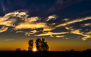 horizon, silhouette, clouds, sky, sunset, sunlight, panorama, summer, dusk, evening, widescreen, landscape, nature