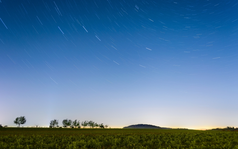 countryside, cropland, dawn, evening, farmland, field, grass, horizon, landscape, nature, outdoors, sky, stars, swirly bokeh, trees