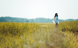 agriculture, bright, clouds, countryside, cropland, crops, daylight, dress, farm, field, girl, grassland, nature, outdoor, rural, sky, woman, prairie, spring, meadow, summer, plants, sunlight, flowers