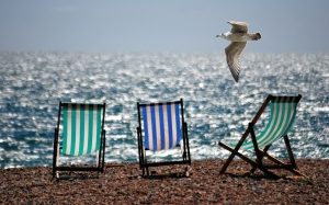 deckchairs, sea, ocean, beach, seaside, seagull, summer, resort, relax, sky