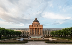 frontal view, bayerische staatskanzlei, bavarian state chancellery, hofgarten, munich, germany, architecture, city, government