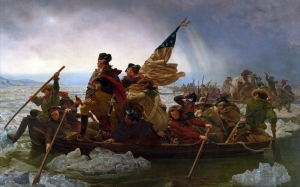 emanuel leutze, washington crossing the delaware, painting, history painting, james monroe, george washington, nathanael greene, oil on canvas