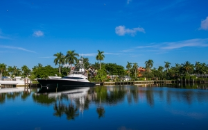 fort lauderdale, florida, water, sky, nature, body of water, palm tree, tropics, sea, tourist, morning, lake, boat, landscape, calm, lagoon, leisure, bay, vacation