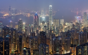 panoramic, view, hong kong, skyline, victoria peak, cityscape, night, lights, skyscrapers