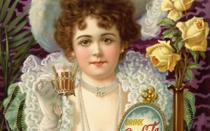 drink, coca-cola, advertising, poster, woman, fancy clothes