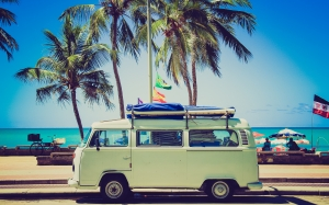 beach, water, sand, sky, sunshine, car, automobile, vw, volkswagen, van, summer, vacation, travel, vehicle, holiday, camping, tourism, trip, vw camper, classic car, bus, sunny, hippie, sixties, palm trees, vanagon, boa viagem beach