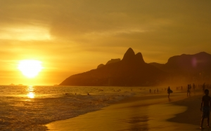beach, tropical beach, surfing, surfers, ipanema beach, rio de janeiro, sugarload mountain, brazil, sunset, seascape, south america, summer, sand, surf, sundown, dusk, guanabara bay, tourism, vacation, coastline