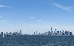 manhattan, skyline, architecture, buildings, city, new york city, usa, ocean, sky, water