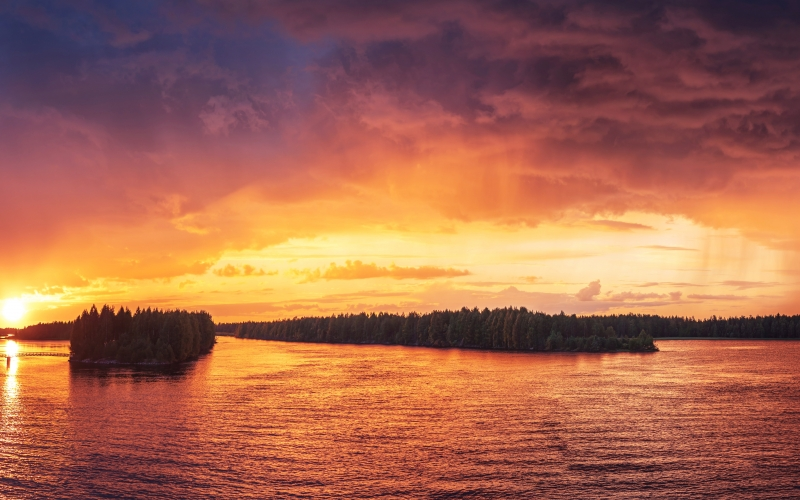 landscape, nature, outdoors, clouds, dusk, evening, forest, lake, placid, river, scenic, silhouette, sky, sunset