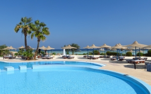 azure, beach, pool, palm trees, hotel, tables, umbrellas, deck chairs, resort, blue, sea