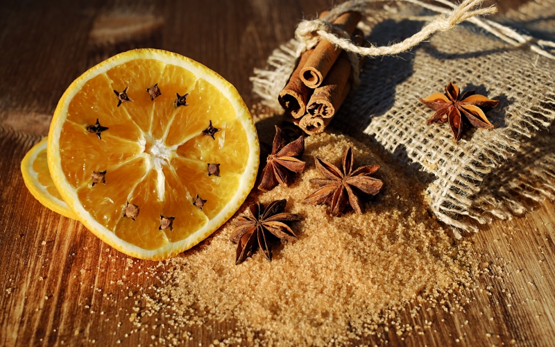 xmas, new year, anise, star anise, schisandraceae, cinnamon, cinnamon sticks, cloves, dried, spice, brown, smell, aroma, orange slices, brown sugar, food, christmas, mulled claret