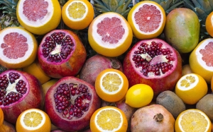 fruits, tropical, vibrant, refreshment, fresh, lemon, grapefruit, pomegranate, citrus, seeds