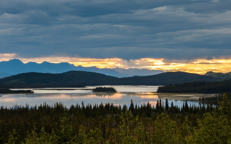 sunset, tetlin national wildlife refuge, alaska, united states, nature, landscape, mountains, clouds, forest