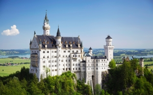 history, architecture, bavaria, building, castle, daylight, germany, landmark, landscape, neuschwanstein, palace, sight, sky, tourist attraction, tower, travel, trees