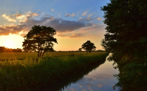 clouds, dawn, dusk, evening, sky, grass, landscape, nature, outdoors, placid, reflection, river, scenic, sky, summer, sun, sunset, trees, water