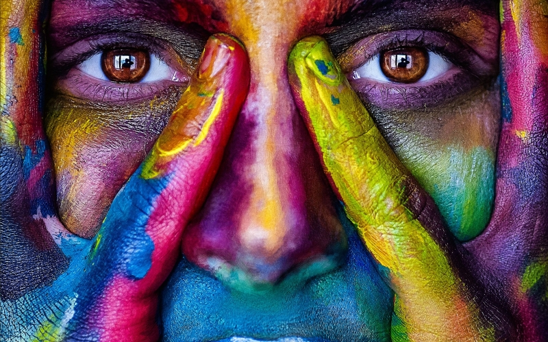 girl, face, colorful, colors, artistic, person, woman, eyes, art, paint, portrait, abstract