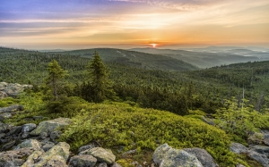 lusen, sunrise, panorama, landscape, morgenrot, skies, nature, morgenstimmung, sky, sun, backlighting, morning, bavaria, forest, mountains, hiking