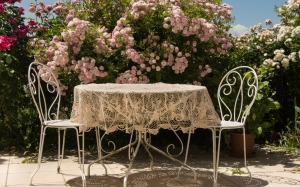 table, summer, roses, terrace, chairs, sun, flowers, relaxation, tablecloth, garden