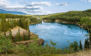 view, yukon, river, schwatka lake, miles canyon, whitehorse, canada, nature, landscape, forest, wood, mountains