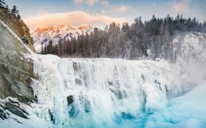 sunset, wapta falls, yoho national park, alberta, canada, waterfall, mountains, forest, snow, nature, landscape