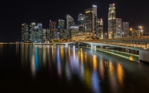 skyline, central business district, singapore, esplanade bridge, night, colorful, lights, reflected, water, city