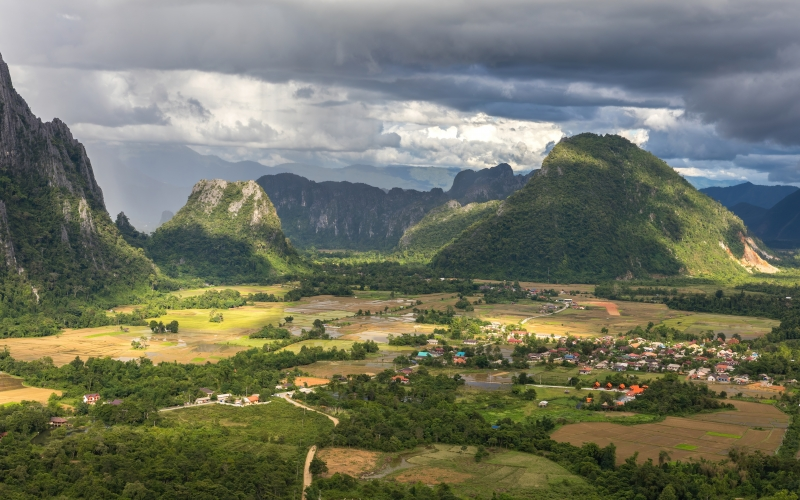 karst peaks, green, paddy fields, stormy sky, view, mount nam xay, monsoon, vang vieng, vientiane province, laos, landscape, nature