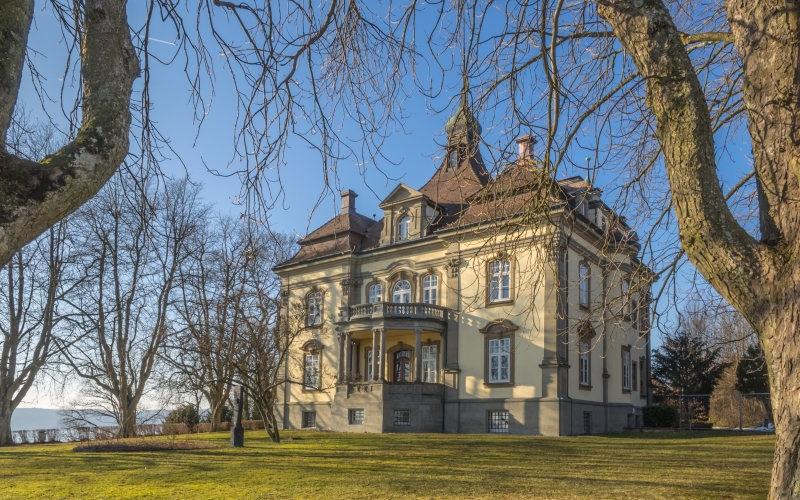 trees, architecture, sky, mansion, house, building, chateau, home, autumn, romantic, berlingen, fall
