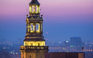 city, sky, evening, tower, architecture, poland