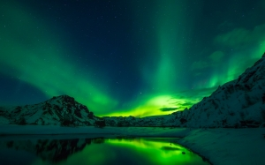 iceland, aurora borealis, northern lights, night, sky, landscape, winter, snow, mountains, lake, water, reflections, nature, outdoors, wilderness, colorful, phenomenon