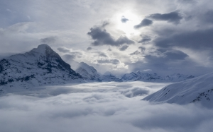 grindelwald, eiger, switzerland, mountains, alpine, bernese oberland, nature, winter, clouds, sky, fog