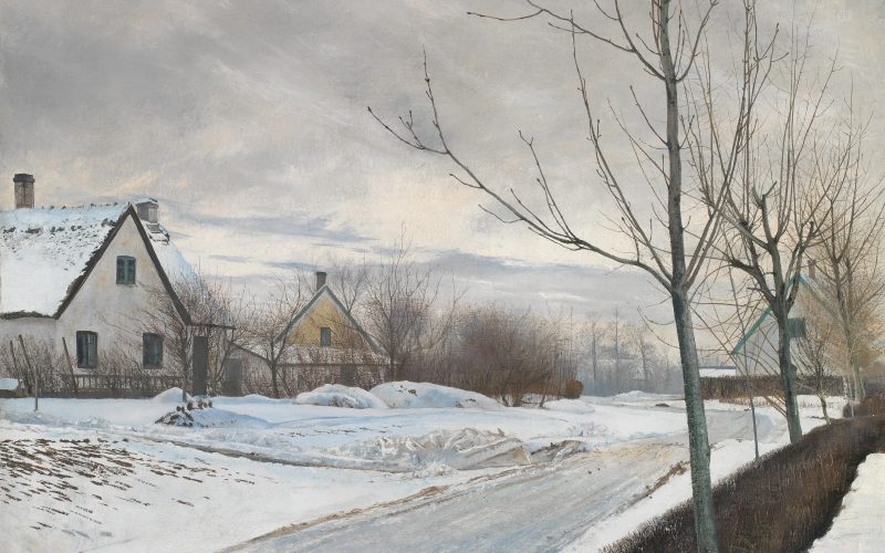 laurits andersen ring, winter, road, village, path, painting, landscape, oil, canvas