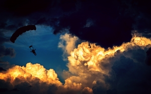 clouds, sky, sunset, sport, sunlight, atmosphere, fly, dusk, evening, high, darkness, parachute, paraglider, air sports, parachutist