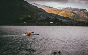 man, canoe, lake, mountain, paddle, adventure, fun, sport, winter, landscape