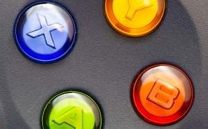 video games, game, controller, closeup, buttons, blue, red, yellow, green, gamer, game console, xbox