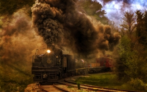 steam, locomotive, coal, smoke, railroad, train, vehicle